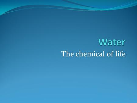 The chemical of life. Acids Sour taste, leaves burning sensation Increase hydrogen ions (H+) in solution.