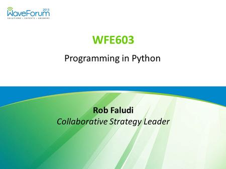 WFE603 Programming in Python Rob Faludi Collaborative Strategy Leader.