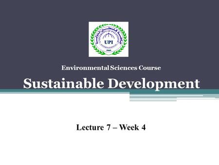 Environmental Sciences Course Sustainable Development