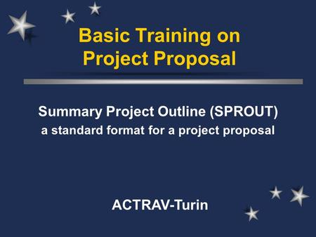 Basic Training on Project Proposal