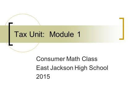 Consumer Math Class East Jackson High School 2015