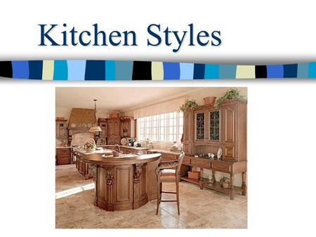 Kitchen Styles. Contemporary kitchens tend to be described as modern, minimalist and geometric. The characteristics include horizontal lines, asymmetry.
