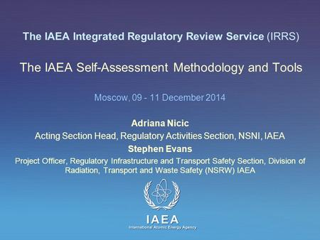 Acting Section Head, Regulatory Activities Section, NSNI, IAEA