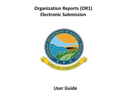 Organization Reports (OR1) Electronic Submission User Guide.
