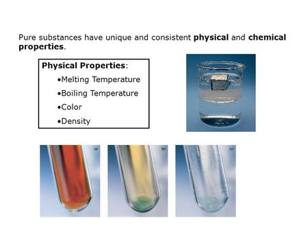 Physical Properties: Melting Temperature Boiling Temperature Color