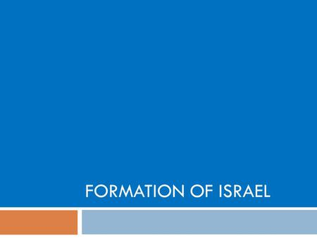 FORMATION OF ISRAEL. Why was the state of Israel formed? Why was geography important in the development of Israel?  Key Terms: Palestine, West Bank,