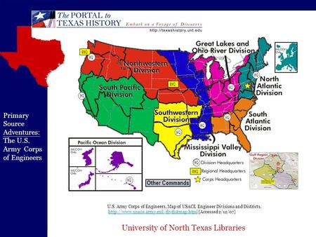 University of North Texas Libraries U.S. Army Corps of Engineers, Map of USACE Engineer Divisions and Districts.