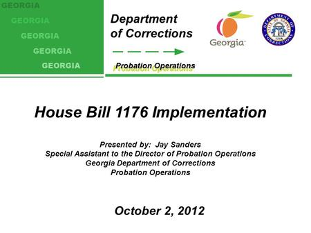 Probation Operations Department of Corrections GEORGIA House Bill 1176 Implementation Presented by: Jay Sanders Special Assistant to the Director of Probation.