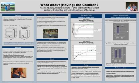TEMPLATE DESIGN © 2008 www.PosterPresentations.com What about (Having) the Children? Rosalind B. King, National Institute of Child and Health Development.