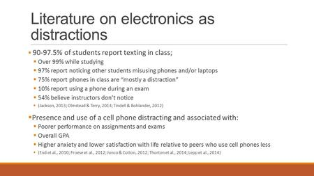 Literature on electronics as distractions  90-97.5% of students report texting in class;  Over 99% while studying  97% report noticing other students.
