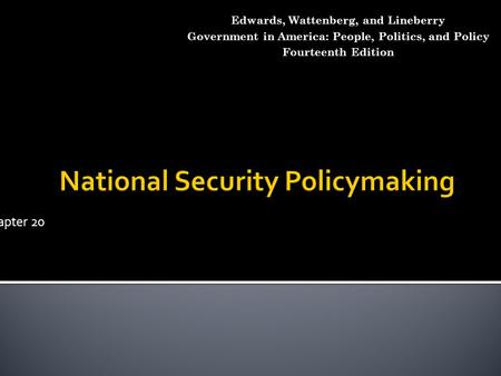 National Security Policymaking