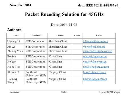 Doc.: IEEE 802.11-14/1387 r0 Submission November 2014 Packet Encoding Solution for 45GHz Date: 2014-11-02 Authors: NameAffiliationsAddressPhoneEmail Liguang.