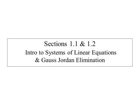 Linear Algebra – Linear Equations