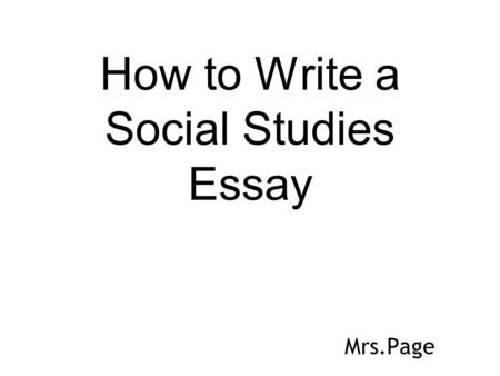 How to Write a Social Studies Essay