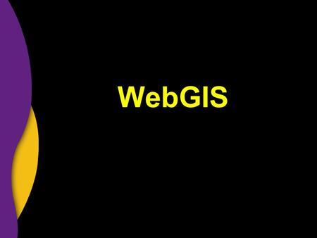 WebGIS. Web & GIS ….WebGIS Access without purchasing proprietary software Data directly from producer Emerging new market.