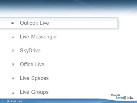 1 Outlook Live Live Messenger SkyDrive Office Live Live Spaces Live Groups.