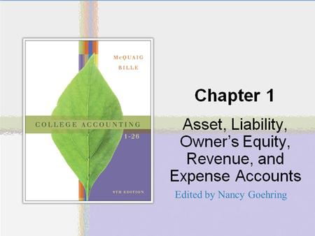 Chapter One Asset, Liability, Owner's Equity, Revenue, and Expense Accounts Edited by Nancy Goehring.