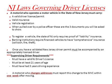 NJ Laws Governing Driver Licenses