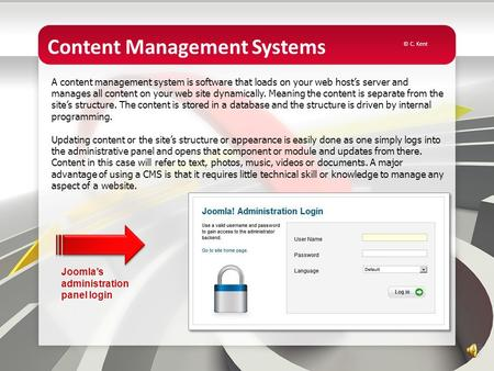 Content Management Systems A content management system is software that loads on your web host's server and manages all content on your web site dynamically.