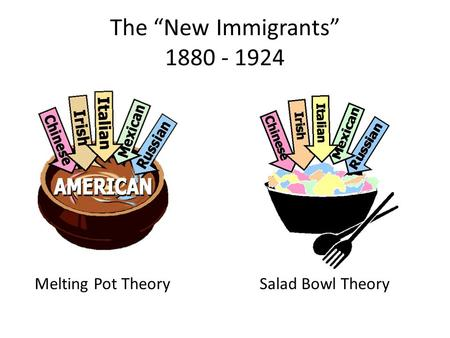 "The ""New Immigrants"" 1880 - 1924 Melting Pot TheorySalad Bowl Theory."