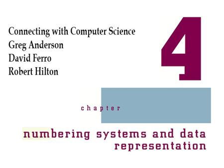 Connecting with Computer Science 2 Objectives Learn why numbering systems are important to understand Refresh your knowledge of powers of numbers Learn.