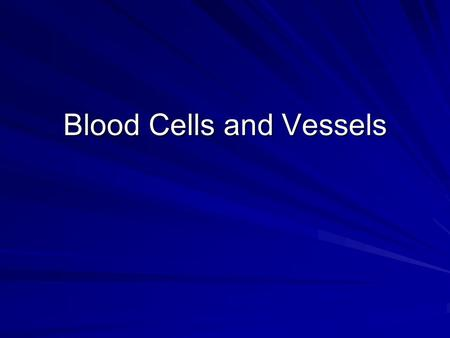 Blood Cells and Vessels