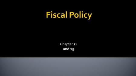 Chapter 11 and 15.  The use of government taxes and spending to manipulate the economy. Chapter 11 2.