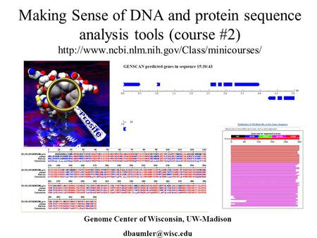 Making Sense of DNA and protein sequence analysis tools (course #2)  Dave Baumler Genome Center of Wisconsin,