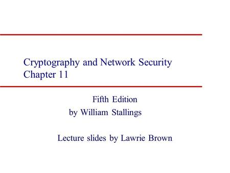 Cryptography And Network Security By William Stallings Third Edition Ebook