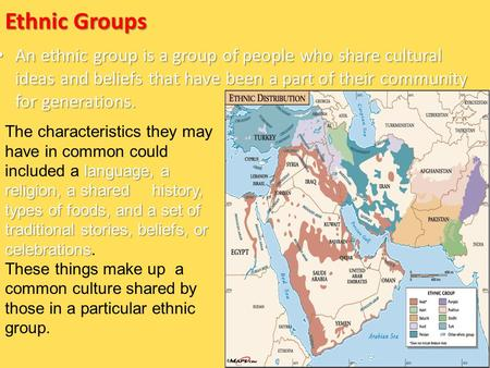 Ethnic Groups An ethnic group is a group of people who share cultural ideas and beliefs that have been a part of their community for generations. An ethnic.
