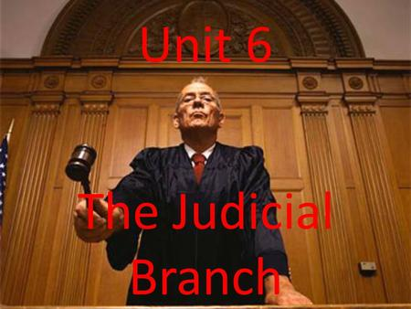Unit 6 The Judicial Branch. Section 1: The Lower Courts.