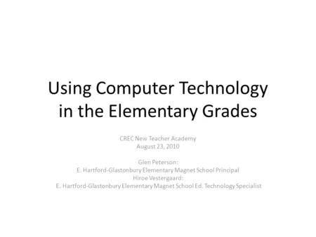 Using Computer Technology in the Elementary Grades