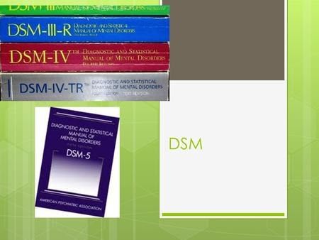 DSM. History of DSM  DSM-I – 1952  DSM-II – 1968  DSM-II 7 th Printing – 1974 (Homosexuality no longer listed as a disorder  DSM-III – 1980  DSM-III-R.