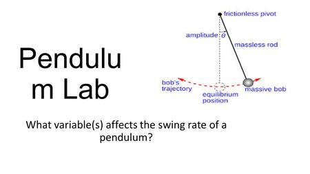 Pendulu m Lab What variable(s) affects the swing rate of a pendulum?
