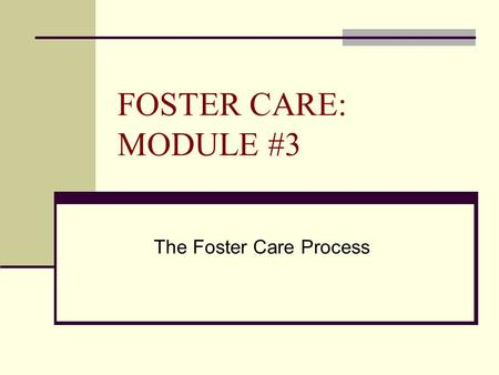 FOSTER CARE: MODULE #3 The Foster Care Process. FOSTER PARENTING  They are licensed and receive specialized training.  Work collaboratively as a member.
