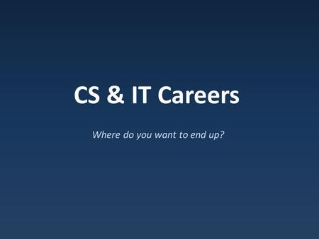 CS & IT Careers Where do you want to end up?. What Computer Science Isn't Digital Literacy / Using computer applications.