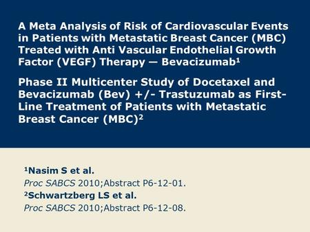 A Meta Analysis of Risk of Cardiovascular Events in Patients with Metastatic Breast Cancer (MBC) Treated with Anti Vascular Endothelial Growth Factor (VEGF)