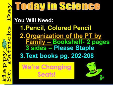 You Will Need: 1.Pencil, Colored Pencil 2.Organization of the PT by Family – Bookshelf- 2 pages 3 sides – Please Staple 3.Text books pg. 202-208 We're.