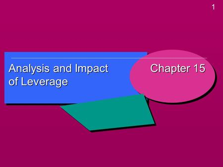 1 Analysis and Impact of <strong>Leverage</strong> Chapter 15. 2 Learning Objectives Learning Objectives  Understand the different between business risk and <strong>financial</strong>.