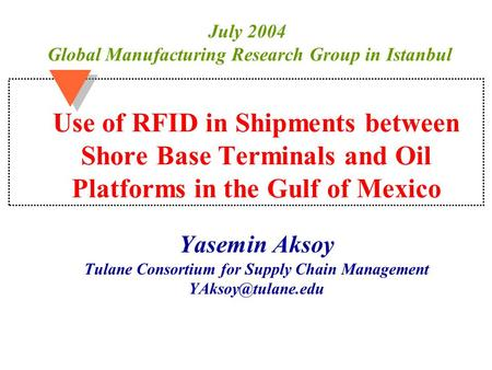 Use of RFID in Shipments between Shore Base Terminals and Oil Platforms in the Gulf of Mexico Yasemin Aksoy Tulane Consortium for Supply Chain Management.