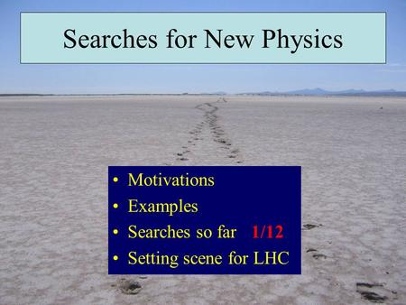 Searches for New Physics Motivations Examples Searches so far Setting scene for LHC 1/12.