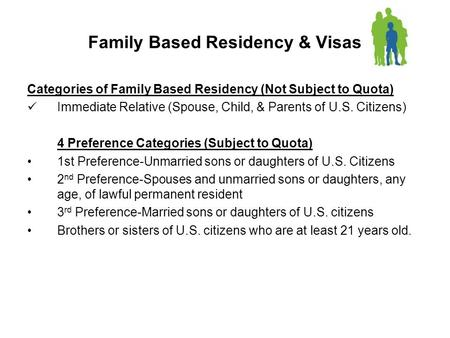 Family Based Residency & Visas Categories of Family Based Residency (Not Subject to Quota) Immediate Relative (Spouse, Child, & Parents of U.S. Citizens)