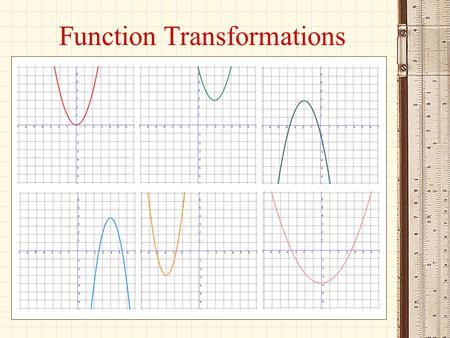 Function Transformations. Objectives: To interpret the meaning of the symbolic representations of functions and operations on functions including: a·f(x),