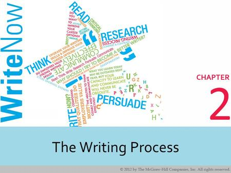 2 The Writing Process. 2 2 Learning Outcomes In this chapter, you will learn techniques for…. Discovering ideas about a topic. Planning and organizing.