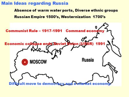 Main Ideas regarding Russia Absence of warm water ports, Diverse ethnic groups Russian Empire 1500's, Westernization 1700's Communist Rule – 1917-1991.