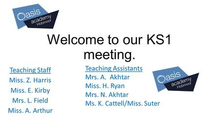 Welcome to our KS1 meeting. Teaching Staff Miss. Z. Harris Miss. E. Kirby Mrs. L. Field Miss. A. Arthur Teaching Assistants Mrs. A. Akhtar Miss. H. Ryan.