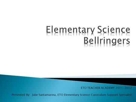 Elementary Science Bellringers