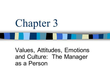 Values, Attitudes, Emotions and Culture: The Manager as a Person