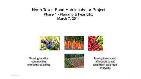 North Texas Food Hub Incubator Project Phase 1 - Planning & Feasibility March 7, 2014 103/07/2014.