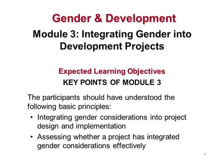 The participants should have understood the following basic principles: Integrating gender considerations into project design and implementation Assessing.